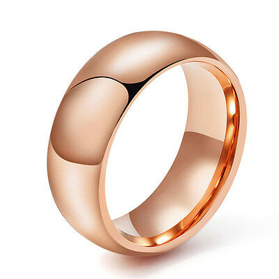 Mens Tungsten Carbide Ring Rose Gold Plain Dome Band Wedding Engagement 8mm