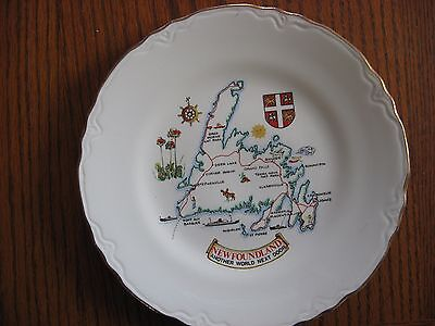 9 inch Map of Newfoundland Collector Plate Gold Rim... Another World Next Door