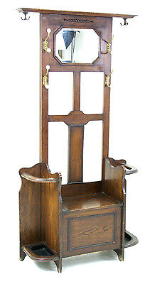 REDUCED!  B254 Ant. Scot. Oak Hall Stand, Coat Rack w Bevel Mirror Lift Up Seat
