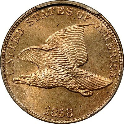 1858 1C Large Letters Flying Eagle Cent PCGS MS65