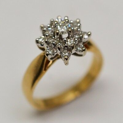 14k Yellow Gold Cluster Diamond 0.46 tcw Ring Size 6