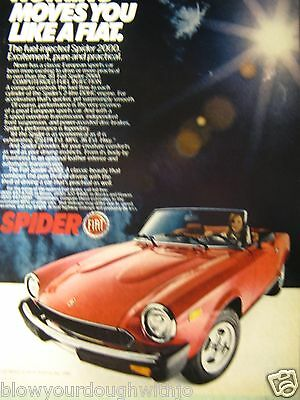 "1981 Fiat Spider 2000 Original Print Ad-8.5 x 10.5""Nothing Moves You Like A Fiat"