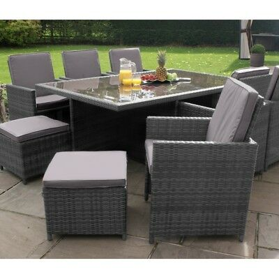 7 Of 8 Milton Rattan Garden Furniture Grey 10 Seater Cube Dining Set
