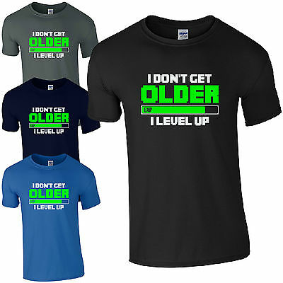 I Don/'t Get Older I Level Up Cat T-Shirt meow cats cat Love Fun Game Gamer Nerd
