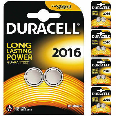 10 x Duracell CR2016 DL2016 2016 Coin Cell Batteries 3V Lithium 5 TWIN PACKS