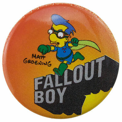 25mm The Simpsons Milhouse Fallout Boy Button Badge New & Official Merchandise