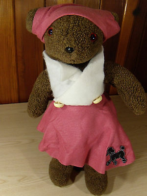 "Large TEDDY BEAR Hand Made 24"" Brown Pink Poodle Dress"