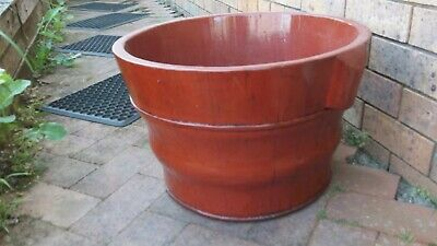 Large Chinese Antique TOFU Bucket POT - RED - 1 of 2 - storage / firewood / etc
