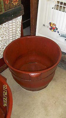 Large Chinese Antique TOFU Bucket POT - RED - 2 of 2 - storage / firewood / etc