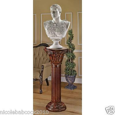 Large Corinthian Capital Flute Column Pedestal Carved Hardwood rose Marble Inlay • CAD $443.25