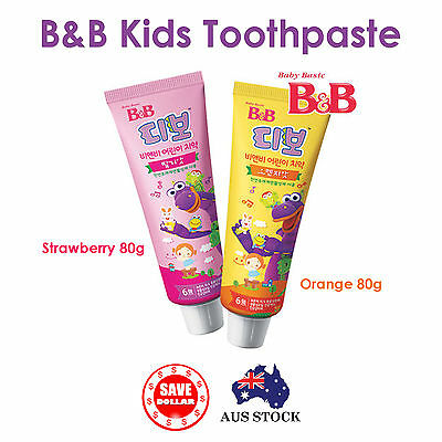 B&B Toothpaste for Children 80g Strawberry Orange Kids Dental Care Toothpaste