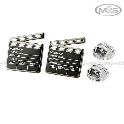 Buy 2 Get 1 Free Clapperboard Clap-Stick Blk Silver Pin Brooch Down Collar Tips