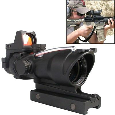 ACOG Style Real Fiber Source Red/Green Illuminated 4x32 Rifle Scope W/2 Mounts