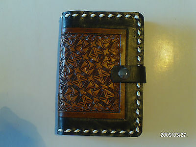 Hand Carved Leather Basket Weave  Buck Stitch Note Book Cover Aw Leather Goods