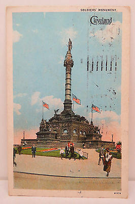 Soldiers Monument Cleveland 1926 Air Mail Cancel Airkraft Postcard AK (A2693