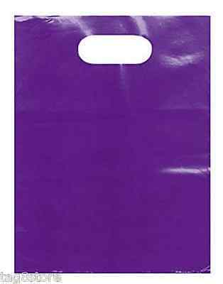 "100 Lot 9"" x 12"" PURPLE GLOSSY LowDensity Plastic Merchandise Bags Gift Retail S"