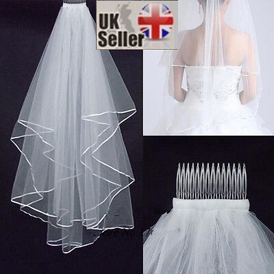 Ivory White 2t Wedding Veil with Comb, Elbow length, FANCY DRESS HEN NIGHT PARTY