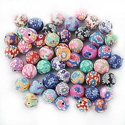 10mm Mixed Polymer Fimo Clay Round Ball Flower Loose Charm Beads 50Pcs