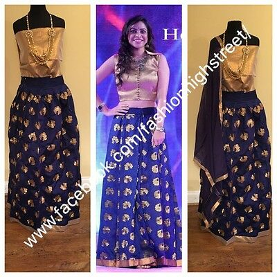 UK Stock: Indian Bollywood, Designer,Bridal Blue & Gold Lehenga, Chanya Choli