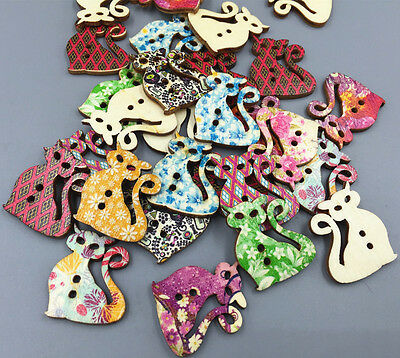 Retro Wooden buttons Printing Cat Sewing Scrapbooking decoration 2 Holes 30mm