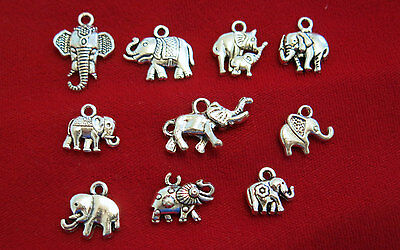 """10pc set """"elephant"""" charms in antique silver style (BC843)"""