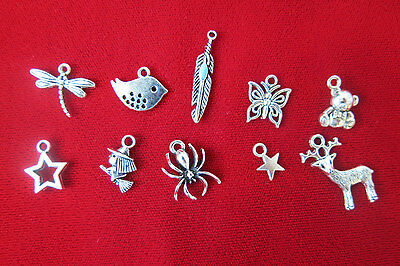 10 pc set mixed beautiful antique style silver charms (BC54)
