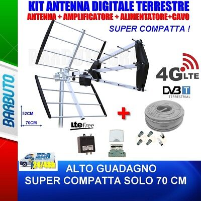 KIT COMPLETO ANTENNA TV DIGITALE TERRESTRE TRIPLA 15dB + AMPLIFICATORE 35dB