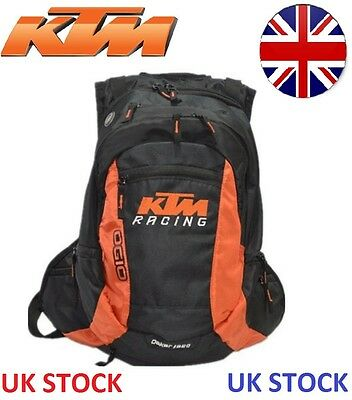 Black KTM Style Racing 20L Motorcycle Bag Backpack Enduro Rucksack + RAIN COVER