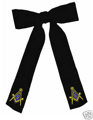 Masonic Kentucky Colonel String Bow Tie - Clip On Style - New - Embroidered Logo