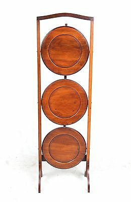 Folding Cake Stand 3 Tier Solid Mahogany Antique Vintage Carved