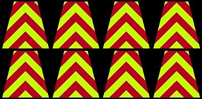 8 Reflective Fluorescent Yellow and Red Chevron Fire Helmet Tetrahedrons Tets