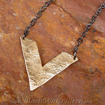 ELEMENT CHEVRON NECKLACE - Timelessly Classic Aged Hammered Bronze Pendant