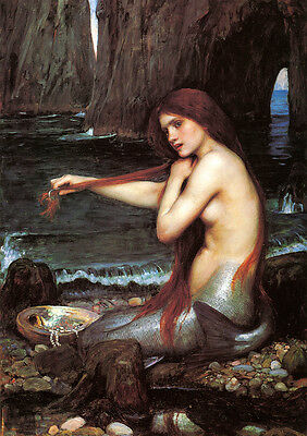 A Mermaid by John William Waterhouse Art Paper Print