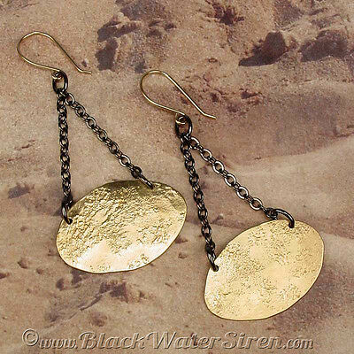 ELEMENT OVAL - Timelessly Classic Aged Hammered Bronze Earrings