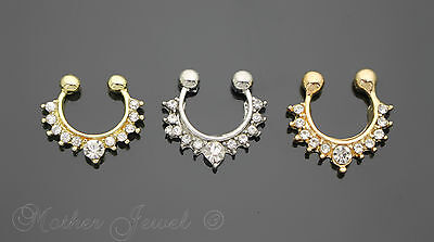 Chandelier Temporary Fake Septum Cz Rose / Yellow Gold Gp Silver Sp Ring