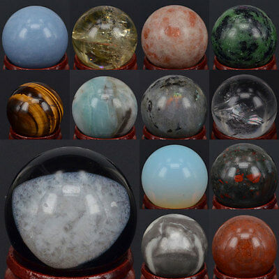 30MM New Wholesale Natural Stone Gems Sphere Crystal Reiki Healing Globe Ball