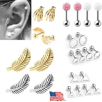4ab63a232 Pair Steel Piercing Feather Barbell Cartilage Tragus Helix Bar Stud Earrings  US