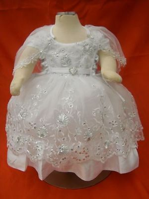 Baby Girl Christening Baptism Dress / 3 pcs Outfit/Size 0,1,and 2
