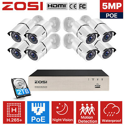ZOSI HD 1080P 8CH POE NVR 2TB HDD 2MP Outdoor IP Network Security Camera System