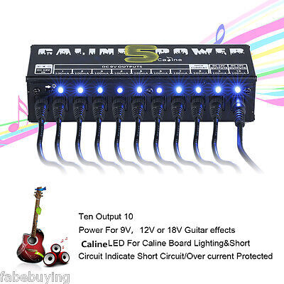 10 Isolated Output 9V 12V 18V Guitar Effect Pedal Power Supply with AU Adapter
