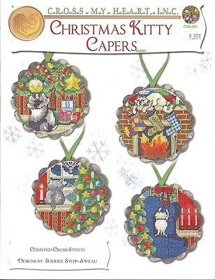 CHRISTMAS KITTY CAPERS COUNTED CROSS STITCH PATTERNS. Shipping Included