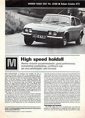 Reliant Scimitar GTE 1968-69 UK Market Road Test Brochure Motor