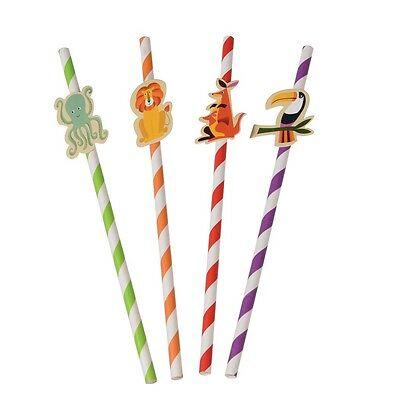 dotcomgiftshop PACK OF 4 COLOURFUL CREATURES PARTY STRAWS