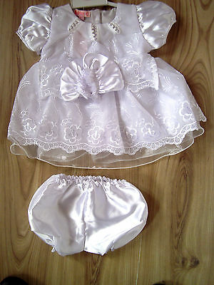 Baby White Christening Bridesmaid Party Satin Dress/Hat/Knickers,0-3-6-9 months