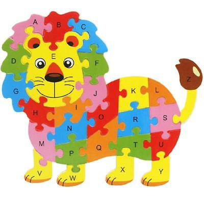 Wooden Lion Animal Puzzle Alphabet Jigsaw Toy Preschool Children Boys Girls