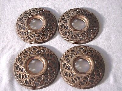 4 Vintage Antique Decorative Brass End Plates for Wooden Curtain Rods
