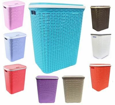 50L Rattan Style Plastic Laundry Linen Basket Bin Hamper Choice of Colours