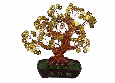 "Chinese Feng Shui Bonsai Gold Coin Money Tree Chinese Characters 10"" Wealth Luck"