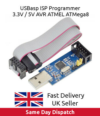 USB ISP USBASP Programmer AVR ATMEL ATMega8 Download Pin IDC Cable 3.3V 5V - UK