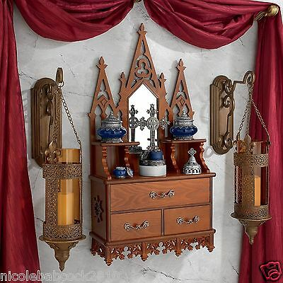 Laser Cut Wood Gothic Cathedralwall Sculptural Cabinet Clermont Manor Cupboard